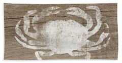 White Crab On Wood- Art By Linda Woods Beach Towel