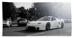 Beach Towel featuring the photograph White Custom Nsx  by Joel Witmeyer
