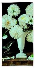 White Dahlias In White Vase Beach Sheet