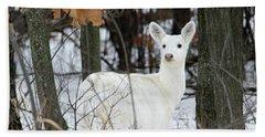 White Deer Vistor Beach Towel by Brook Burling