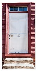 White Door And Peach Wall Beach Sheet