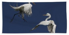 White Egret Ballet Beach Sheet by Myrna Bradshaw
