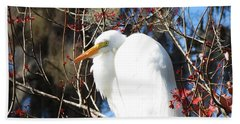 White Egret Bird Beach Towel
