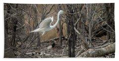Beach Sheet featuring the photograph White Egret by David Bearden