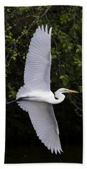Beach Sheet featuring the photograph White Egret In Flight-signed-#0716 by J L Woody Wooden