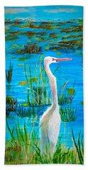 White Egret In Florida Beach Sheet