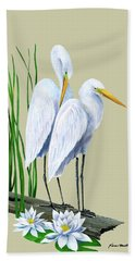 White Egrets And White Lillies Beach Towel