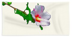 White Flower And Leaves Beach Towel