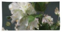 White Flowers 103 Beach Sheet