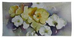 White Flowers, Yellow Flowers... Beach Towel
