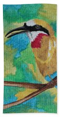 Beach Towel featuring the painting White-fronted Bee-eater  by Amy Gallagher