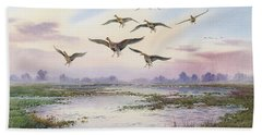 White-fronted Geese Alighting Beach Towel by Carl Donner