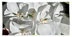 White Geraniums Beach Towel