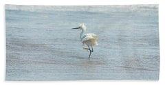 White Heron On The Beach Beach Towel