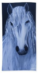 Beach Towel featuring the painting White Horse by Stacey Zimmerman