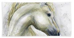 White Horse Watercolor Beach Towel
