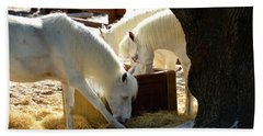 Beach Towel featuring the photograph White Horses Feeding by David Lee Thompson