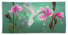 White Hummingbird And Pink Guara Beach Towel