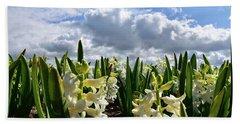 White Hyacinth Field Beach Towel by Mihaela Pater