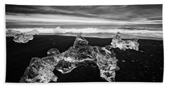 White Ice Black Beach - Fascinating Iceland Beach Towel