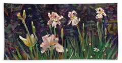 White Irises Beach Sheet by Donald Maier