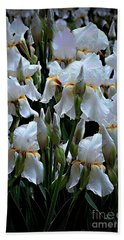White Iris Garden Beach Towel by Sherry Hallemeier