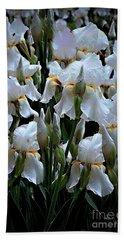 White Iris Garden Beach Sheet by Sherry Hallemeier