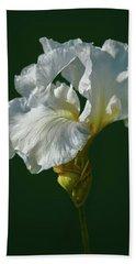White Iris On Dark Green #g0 Beach Towel
