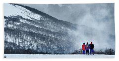 White Landscape In The Frozen Paradise In The Argentine Patagonia Beach Towel