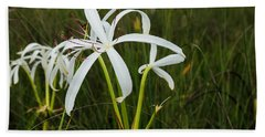 White Lilies In Bloom Beach Sheet