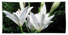 Beach Sheet featuring the painting White Lilies, West Virginia by Sandy McIntire