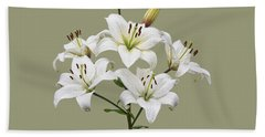 White Lilies Illustration Beach Towel
