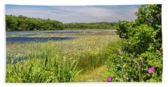 White Lily Pond  Beach Towel