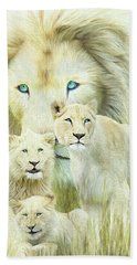 Beach Sheet featuring the mixed media White Lion Family - Forever by Carol Cavalaris