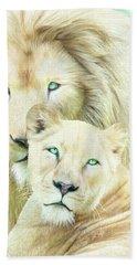 Beach Sheet featuring the mixed media White Lion Family - Mates by Carol Cavalaris