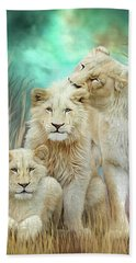 Beach Sheet featuring the mixed media White Lion Family - Mothering by Carol Cavalaris