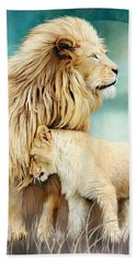 Beach Sheet featuring the mixed media White Lion Family - Protection by Carol Cavalaris