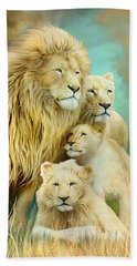 Beach Sheet featuring the mixed media White Lion Family - Unity by Carol Cavalaris