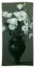 White Lisianthus In Green Pottery Footed Vase Beach Sheet
