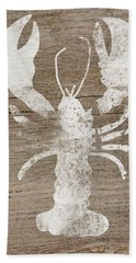 White Lobster On Wood- Art By Linda Woods Beach Towel
