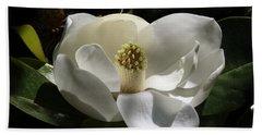 White Magnolia Flower Beach Towel
