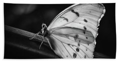 White Morpho Black And White Beach Sheet