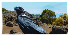 White-necked Raven Overlooking Mount Meru Beach Sheet by Jeff at JSJ Photography