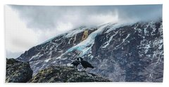 Beach Towel featuring the photograph White-necked Raven Pair Under Kilimanjaro Summit Glacier by Jeff at JSJ Photography