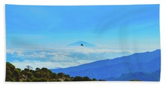 Beach Sheet featuring the photograph White-necked Raven Soaring Above Mount Kilimanjaro With Mount Meru by Jeff at JSJ Photography