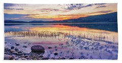 White Night Sunset On A Swedish Lake Beach Towel by Dmytro Korol