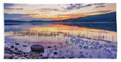White Night Sunset On A Swedish Lake Beach Sheet