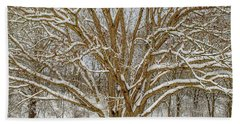 White Oak In Snow Beach Towel