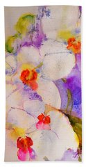White Orchids Beach Sheet by Betty M M Wong