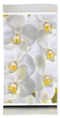 White Orchids Framed Beach Towel